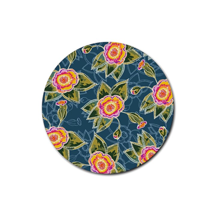 Floral Fantsy Pattern Rubber Round Coaster (4 pack)
