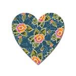 Floral Fantsy Pattern Heart Magnet Front