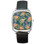 Floral Fantsy Pattern Square Metal Watch