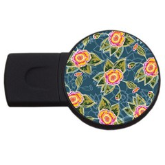Floral Fantsy Pattern Usb Flash Drive Round (4 Gb)  by DanaeStudio
