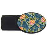 Floral Fantsy Pattern USB Flash Drive Oval (4 GB)  Front