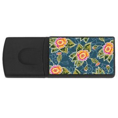 Floral Fantsy Pattern Usb Flash Drive Rectangular (4 Gb)  by DanaeStudio