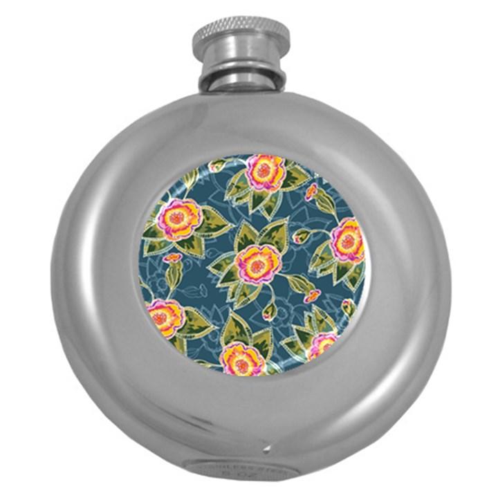 Floral Fantsy Pattern Round Hip Flask (5 oz)