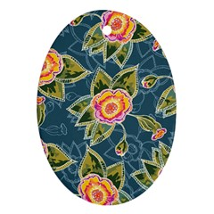 Floral Fantsy Pattern Oval Ornament (two Sides) by DanaeStudio