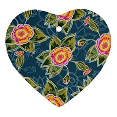 Floral Fantsy Pattern Heart Ornament (2 Sides) by DanaeStudio