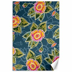 Floral Fantsy Pattern Canvas 24  X 36  by DanaeStudio