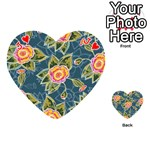 Floral Fantsy Pattern Playing Cards 54 (Heart)  Front - HeartJ
