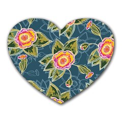 Floral Fantsy Pattern Heart Mousepads by DanaeStudio