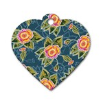 Floral Fantsy Pattern Dog Tag Heart (One Side)