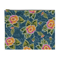 Floral Fantsy Pattern Cosmetic Bag (xl) by DanaeStudio