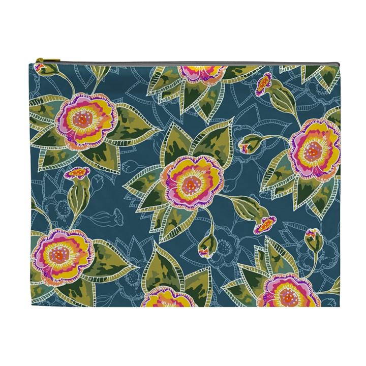 Floral Fantsy Pattern Cosmetic Bag (XL)