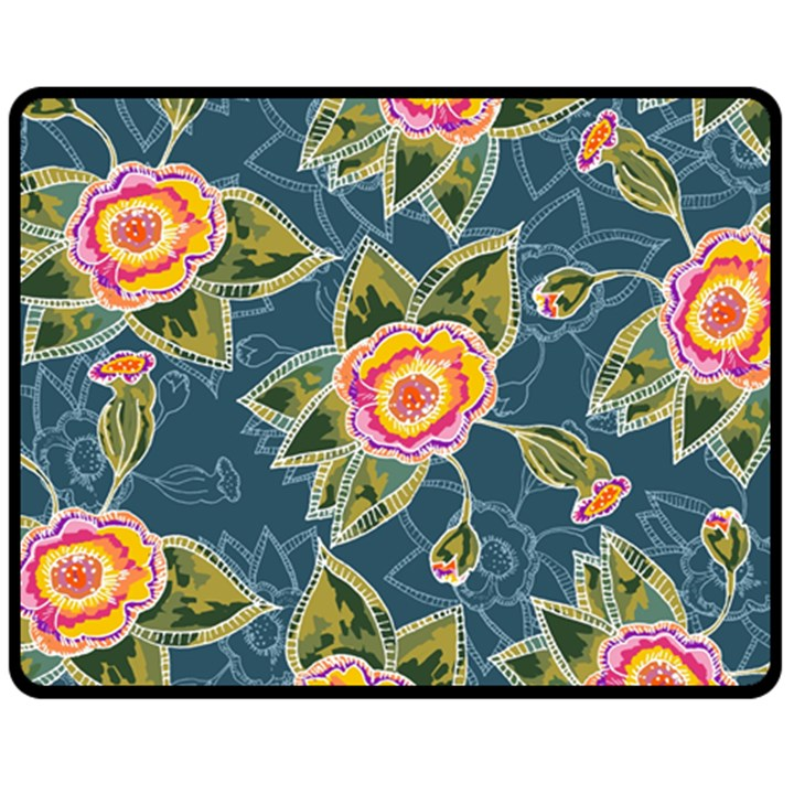 Floral Fantsy Pattern Fleece Blanket (Medium)