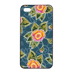 Floral Fantsy Pattern Apple Iphone 4/4s Seamless Case (black) by DanaeStudio