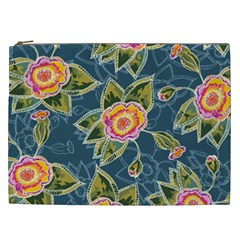 Floral Fantsy Pattern Cosmetic Bag (xxl)  by DanaeStudio