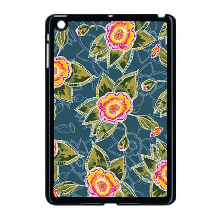 Floral Fantsy Pattern Apple iPad Mini Case (Black)