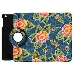 Floral Fantsy Pattern Apple Ipad Mini Flip 360 Case by DanaeStudio