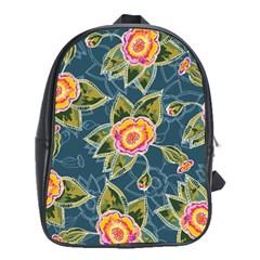 Floral Fantsy Pattern School Bags (xl)