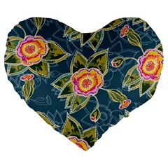 Floral Fantsy Pattern Large 19  Premium Heart Shape Cushions