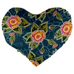 Floral Fantsy Pattern Large 19  Premium Heart Shape Cushions Back