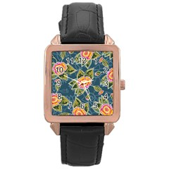Floral Fantsy Pattern Rose Gold Leather Watch  by DanaeStudio