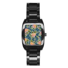 Floral Fantsy Pattern Stainless Steel Barrel Watch