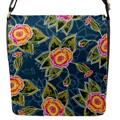 Floral Fantsy Pattern Flap Messenger Bag (s) by DanaeStudio