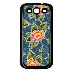 Floral Fantsy Pattern Samsung Galaxy S3 Back Case (black) by DanaeStudio