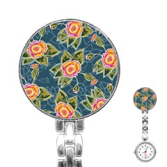 Floral Fantsy Pattern Stainless Steel Nurses Watch by DanaeStudio