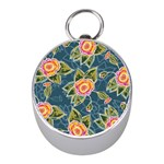 Floral Fantsy Pattern Mini Silver Compasses