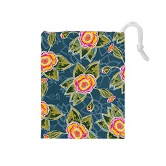 Floral Fantsy Pattern Drawstring Pouches (medium)  by DanaeStudio