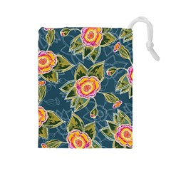 Floral Fantsy Pattern Drawstring Pouches (large)  by DanaeStudio