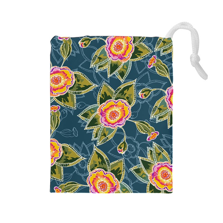 Floral Fantsy Pattern Drawstring Pouches (Large)