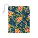 Floral Fantsy Pattern Drawstring Pouches (Large)  Back
