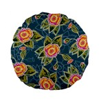 Floral Fantsy Pattern Standard 15  Premium Flano Round Cushions
