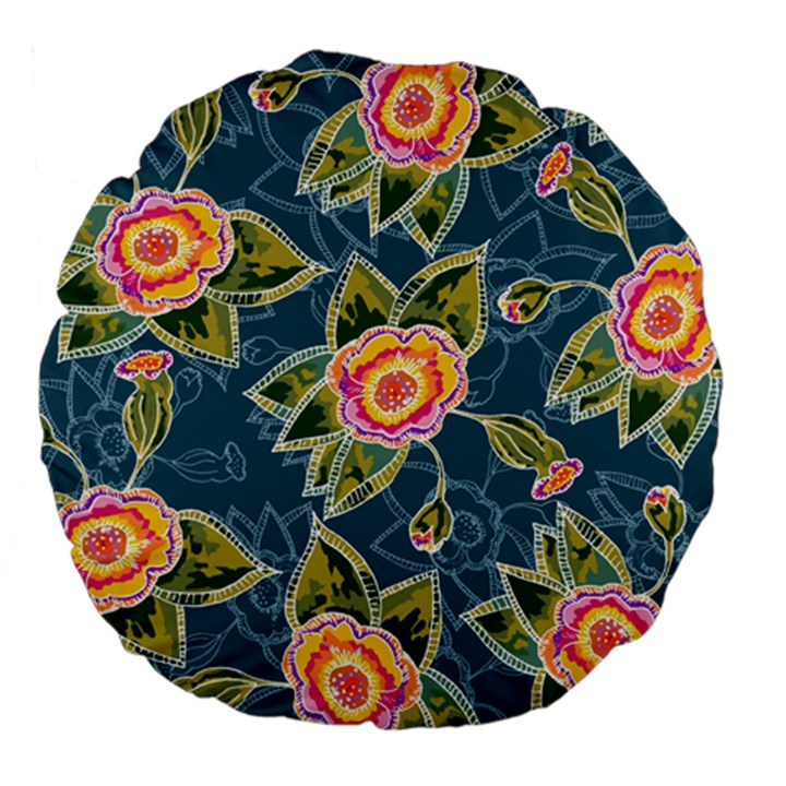 Floral Fantsy Pattern Large 18  Premium Flano Round Cushions