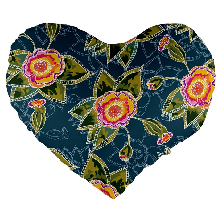 Floral Fantsy Pattern Large 19  Premium Flano Heart Shape Cushions