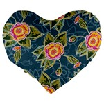 Floral Fantsy Pattern Large 19  Premium Flano Heart Shape Cushions Back