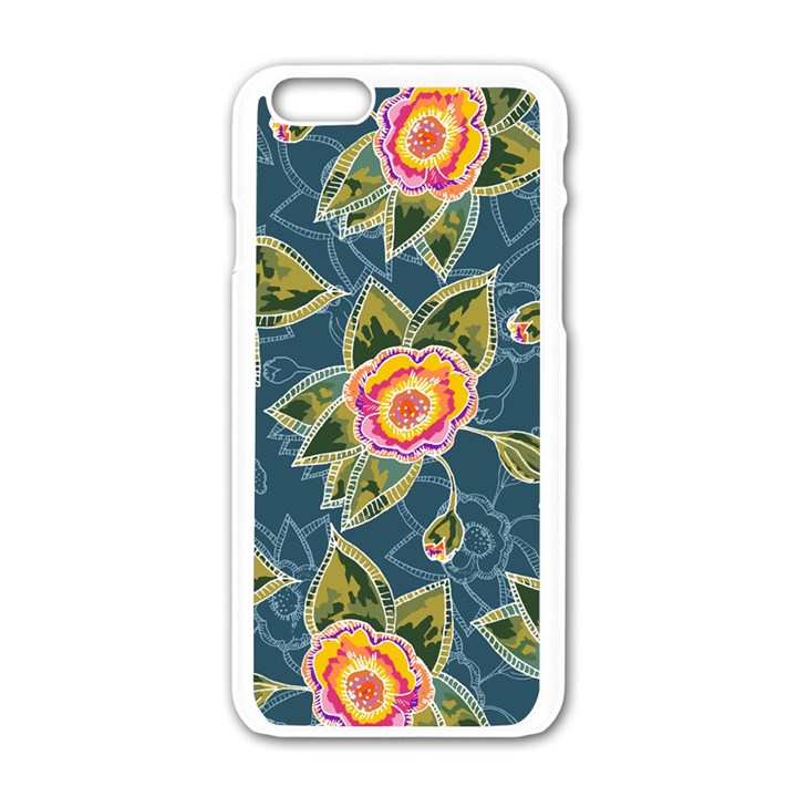 Floral Fantsy Pattern Apple iPhone 6/6S White Enamel Case