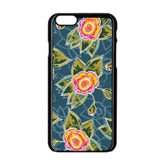 Floral Fantsy Pattern Apple Iphone 6/6s Black Enamel Case by DanaeStudio