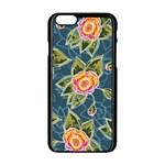 Floral Fantsy Pattern Apple iPhone 6/6S Black Enamel Case
