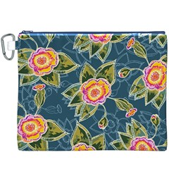 Floral Fantsy Pattern Canvas Cosmetic Bag (xxxl) by DanaeStudio