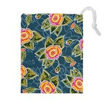 Floral Fantsy Pattern Drawstring Pouches (Extra Large) Front