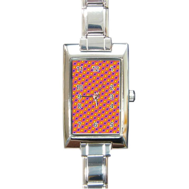 Vibrant Retro Diamond Pattern Rectangle Italian Charm Watch