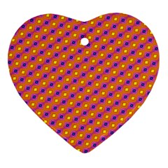 Vibrant Retro Diamond Pattern Ornament (Heart)