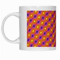 Vibrant Retro Diamond Pattern White Mugs by DanaeStudio