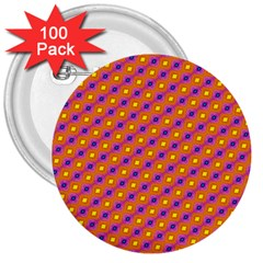 Vibrant Retro Diamond Pattern 3  Buttons (100 pack)