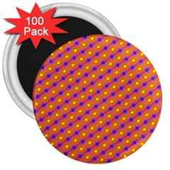 Vibrant Retro Diamond Pattern 3  Magnets (100 pack)