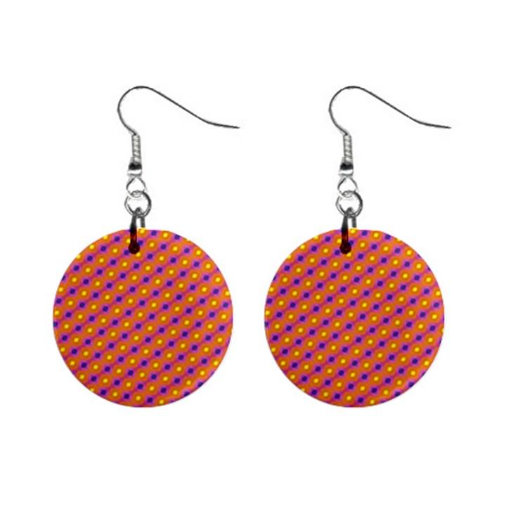 Vibrant Retro Diamond Pattern Mini Button Earrings