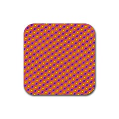 Vibrant Retro Diamond Pattern Rubber Coaster (square)  by DanaeStudio