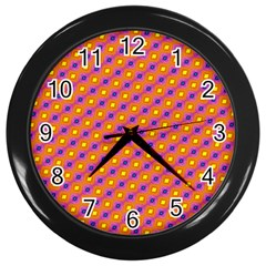 Vibrant Retro Diamond Pattern Wall Clocks (black) by DanaeStudio